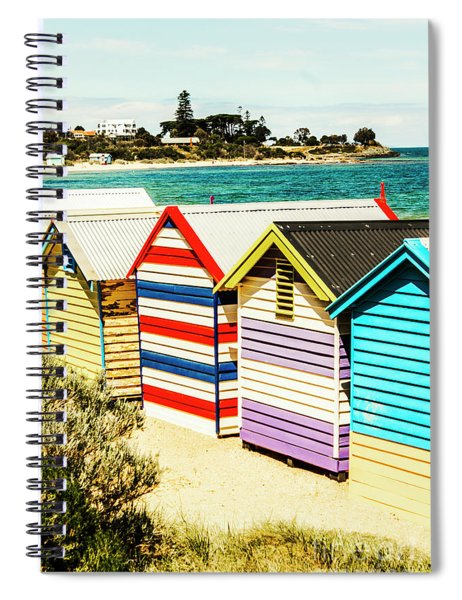 Retro Beach Boxes Spiral Notebook
