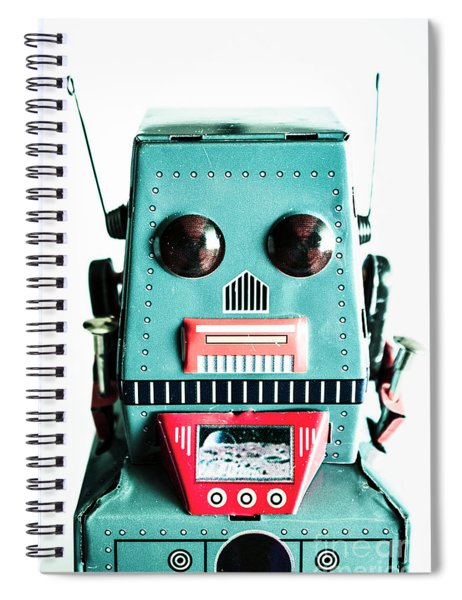 Retro Eighties Blue Robot Spiral Notebook