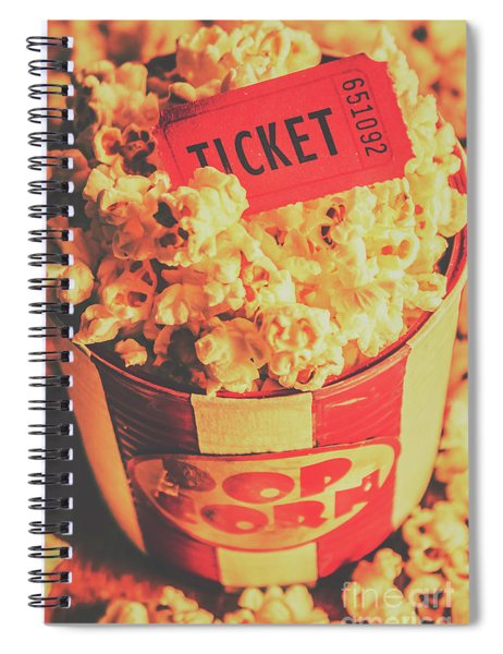 Retro Film Stub And Movie Popcorn Spiral Notebook