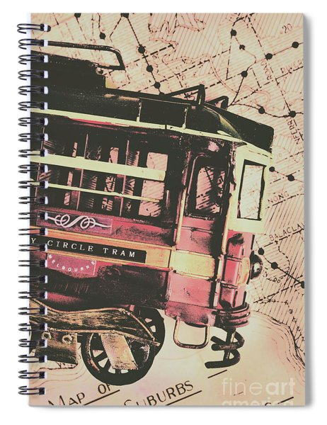 Retro Streets And Urban Trams Spiral Notebook