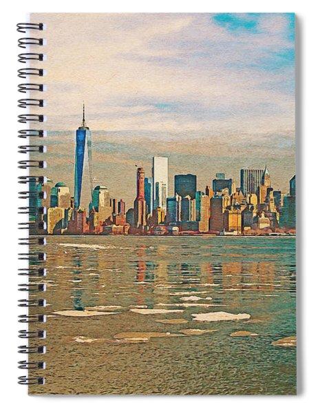Retro Style Skyline Of New York City, United States Spiral Notebook