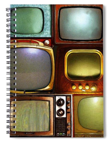 Retro Television Marathon 20150928long V2 Spiral Notebook