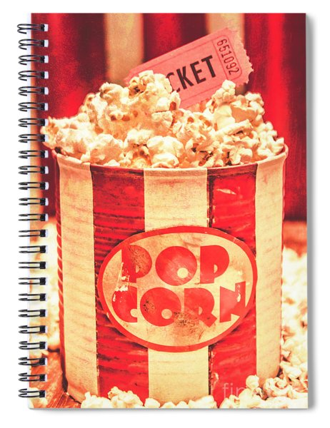 Retro Tub Of Butter Popcorn And Ticket Stub Spiral Notebook