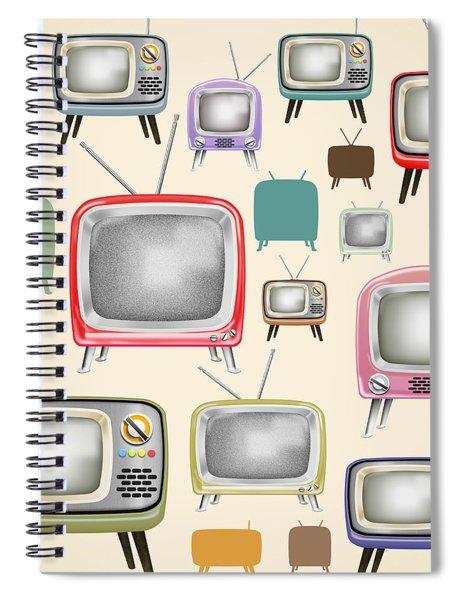 retro TV pattern  Spiral Notebook by Setsiri Silapasuwanchai