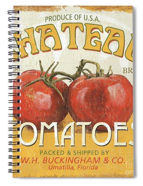 Retro Veggie Labels 4 Spiral Notebook by Debbie DeWitt