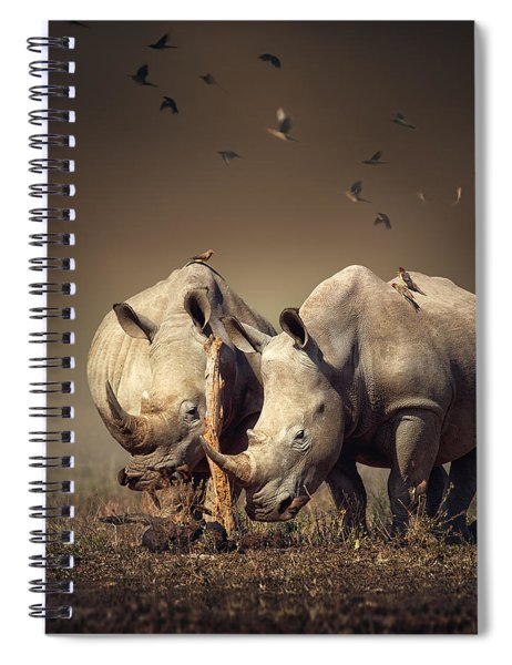 Rhino's With Birds Spiral Notebook