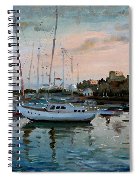 Rhodes Mandraki Harbour Spiral Notebook