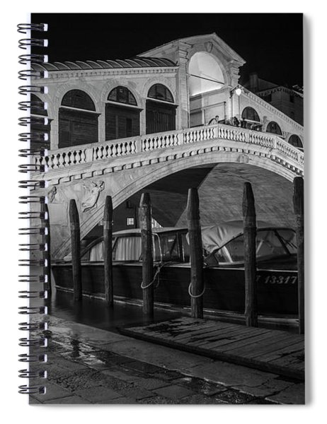 Rialto Bridge At Night With Boat Spiral Notebook