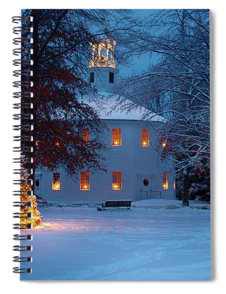 Richmond Vermont Round Church At Christmas Spiral Notebook