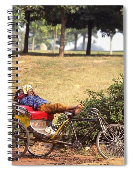 Spiral Notebook featuring the photograph Rickshaw Rider Relaxing by Travel Pics