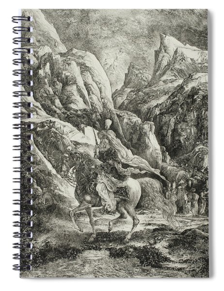 Rider In The Mountains Spiral Notebook