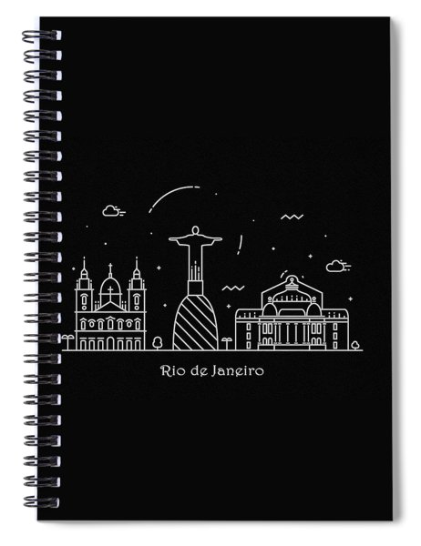 Rio De Janeiro Skyline Travel Poster Spiral Notebook