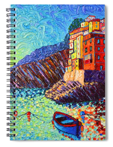 Riomaggiore Sunset - Cinque Terre Italy - Palette Knife Oil Painting By Ana Maria Edulescu Spiral Notebook