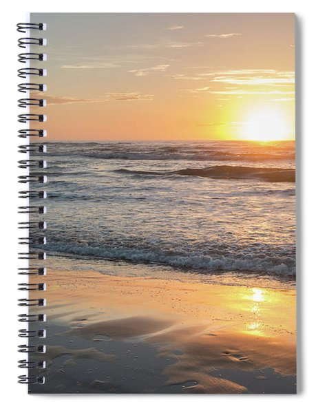 Rising Sun Reflecting On Wet Sand With Calm Ocean Waves In The B Spiral Notebook