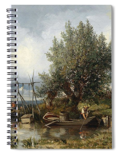River Landscape With Anglers Spiral Notebook