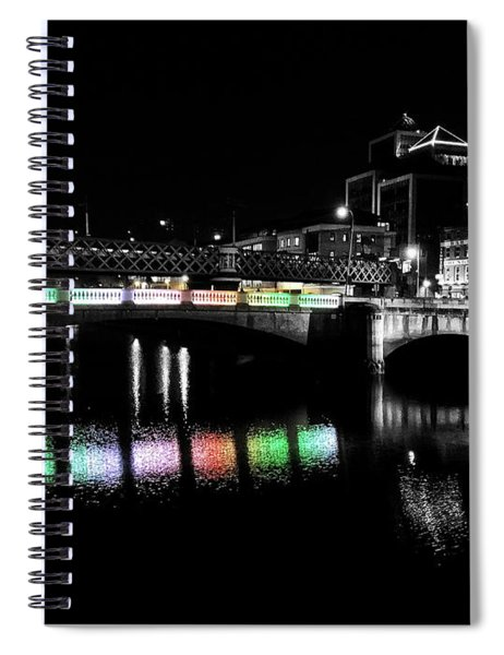 Spiral Notebook featuring the photograph River Liffey Reflections by Andrea Platt