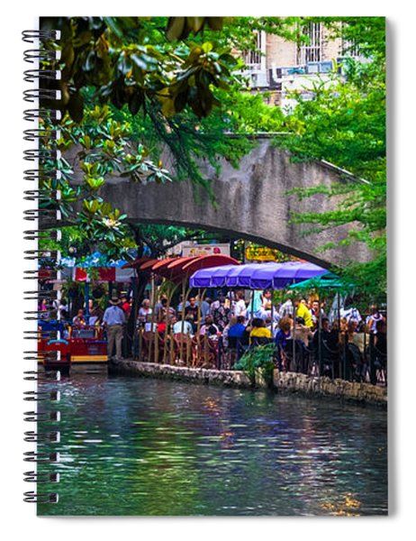 Spiral Notebook featuring the photograph River Walk Dining by Ed Gleichman