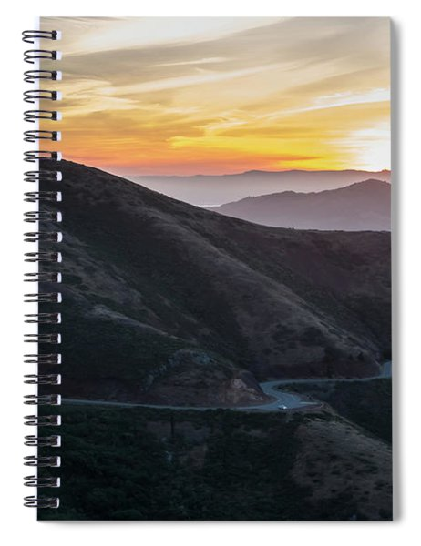 Road On The Edge Of The Mountain With Sunrise In The Background Spiral Notebook