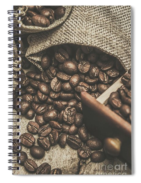 Roasted Coffee Beans In Close-up  Spiral Notebook