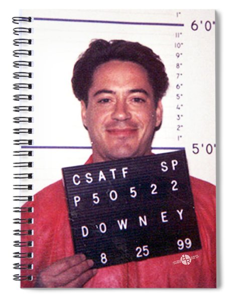 Robert Downey Jr Mug Shot 1999 Color Spiral Notebook