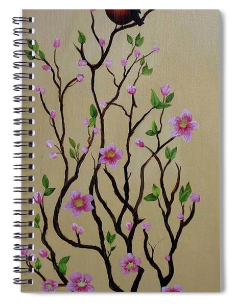 Robin And Spring Blossoms Spiral Notebook
