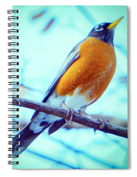 Robin Red Breast In Winter - Impressionism Spiral Notebook