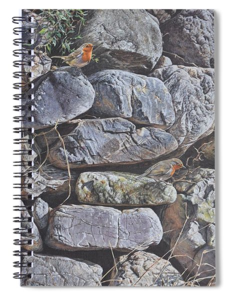 Spiral Notebook featuring the painting Robins by Alan M Hunt