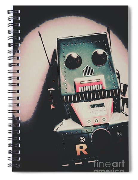 Robotic Mech Under Vintage Spotlight Spiral Notebook
