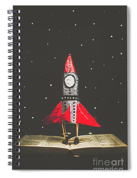 Rockets And Cartoon Puzzle Star Dust Spiral Notebook