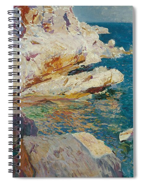 Rocks Of Javea And The White Boat Spiral Notebook