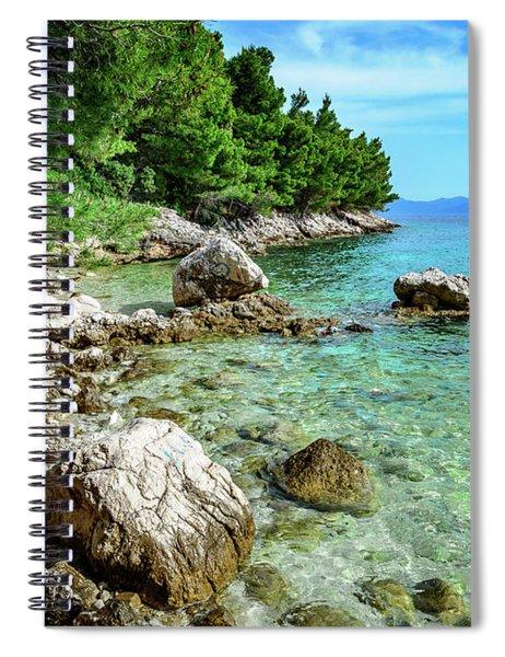 Rocky Beach On The Dalmatian Coast, Dalmatia, Croatia Spiral Notebook