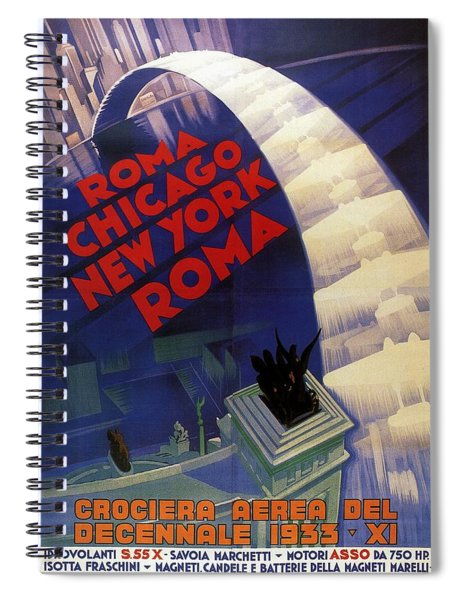 Roma, Chicago, New York - Vintage Illustrated Poster Spiral Notebook