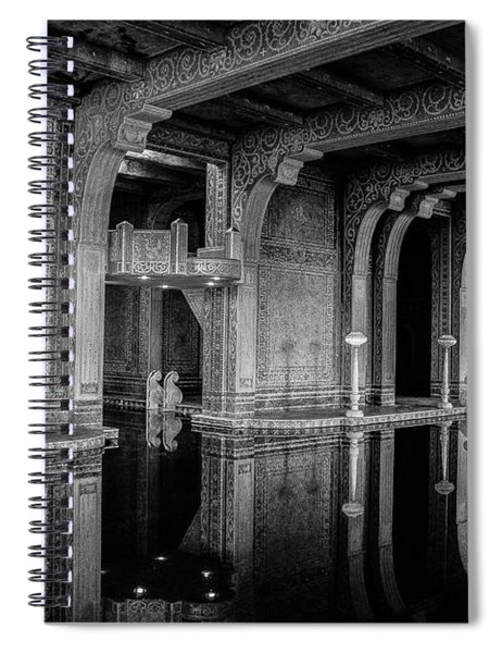 Roman Pool, Black And White Spiral Notebook