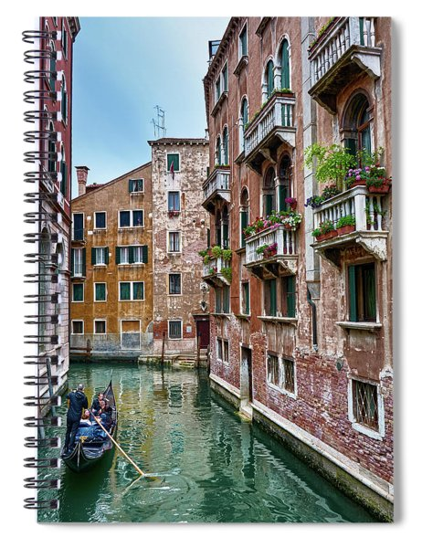 Gondola Ride Surrounded By Vintage Buildings In Venice, Italy Spiral Notebook