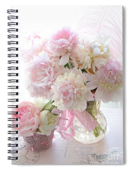Shabby Chic Pink White Peonies - Shabby Chic Peonies Pastel Pink Dreamy Floral Wall Print Home Decor Spiral Notebook