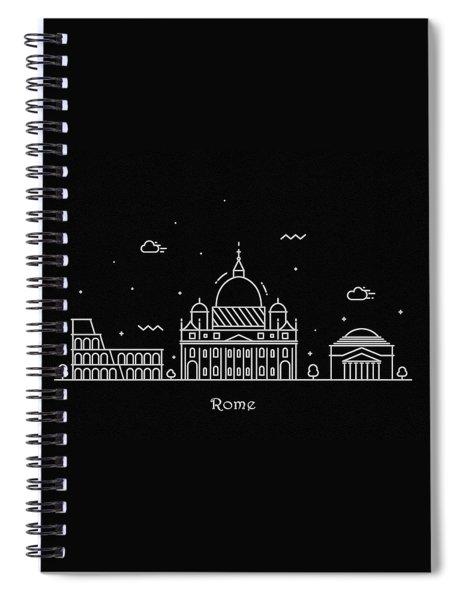 Rome Skyline Travel Poster Spiral Notebook