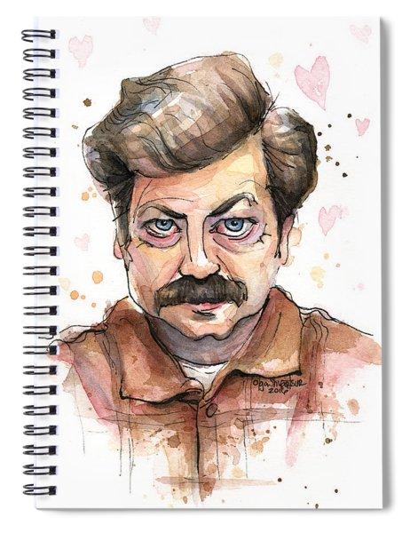 Ron Swanson Funny Love Portrait Spiral Notebook