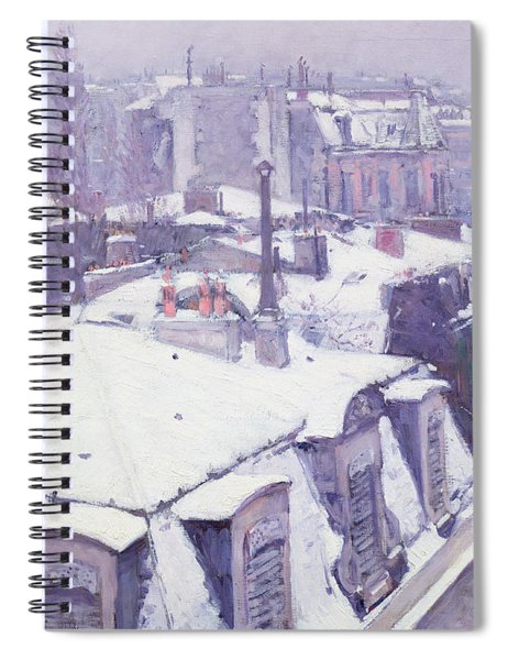 Roofs Under Snow Spiral Notebook by Gustave Caillebotte