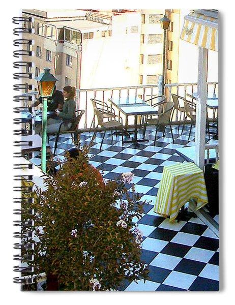 Rooftop Cafe Spiral Notebook by Karen Zuk Rosenblatt