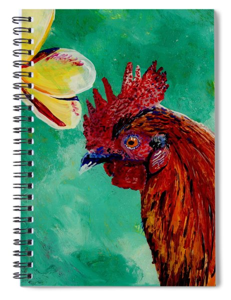 Rooster And Plumeria Spiral Notebook