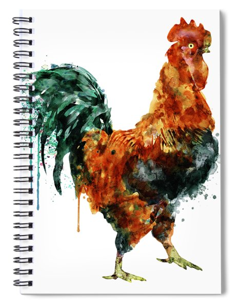 Rooster Watercolor Painting Spiral Notebook