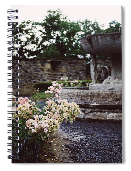 Flowers And A Fountain Spiral Notebook
