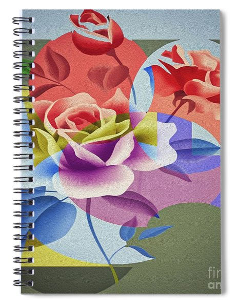 Spiral Notebook featuring the digital art Roses For Her by Eleni Mac Synodinos