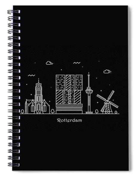 Rotterdam Skyline Travel Poster Spiral Notebook