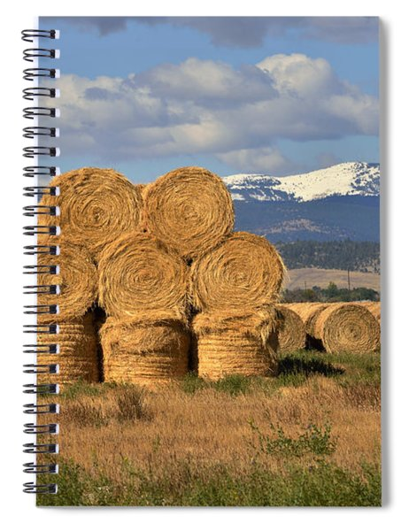 Round Hay Bales And Mountain Spiral Notebook