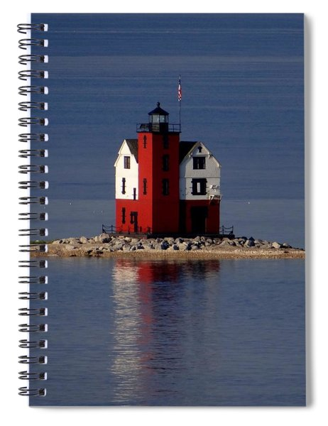 Round Island Lighthouse In The Morning Spiral Notebook