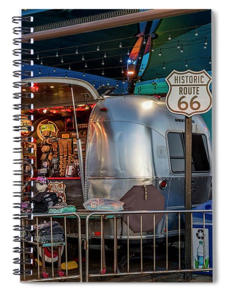 Route 66 And Airstream On Tha Pier Spiral Notebook