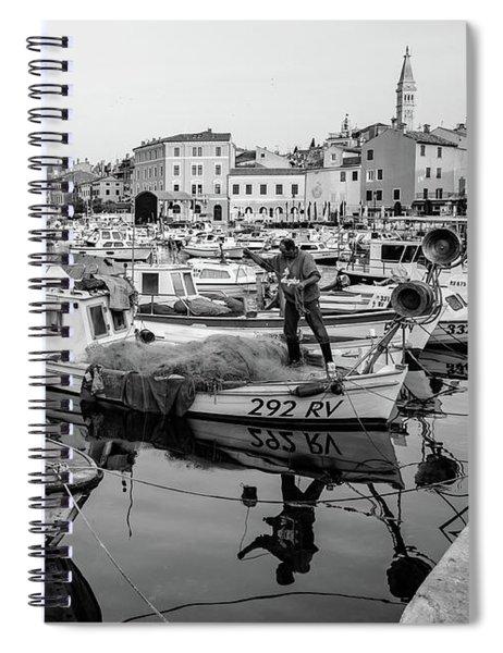 Rovinj Fisherman Working In Old Town Harbor - Rovinj, Istria, Croatia Spiral Notebook