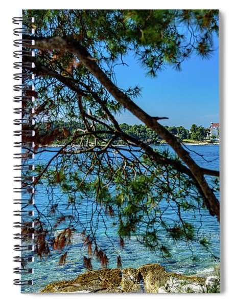 Rovinj Old Town Accross The Adriatic Through The Trees Spiral Notebook