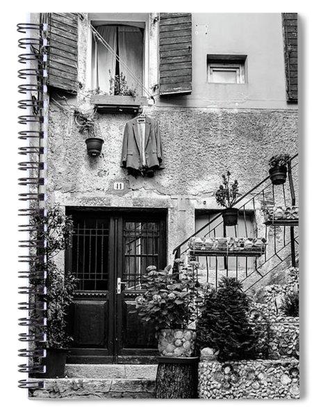 Rovinj Old Town Courtyard In Black And White, Rovinj Croatia Spiral Notebook